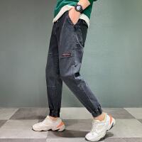 Lee Cooper新款牛仔裤潮流宽松束脚裤韩版个性港风长裤哈伦裤牛仔裤男