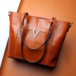 【春夏新品惠】2018春季新款真皮女包时尚大容量欧美购物包袋女士包