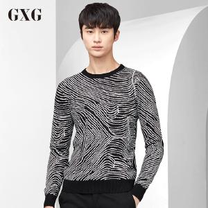 GXG毛衫男装 秋季都市青年潮流都市修身男士黑底白条圆领毛衫男