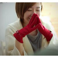 韩版可爱加绒加厚全指触摸屏手套时尚保暖羊毛手套女冬
