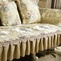 美欧式沙发垫坐垫布艺秋冬防滑全遮沙发套罩巾贵妃垫定做 白色 温纱堡系列