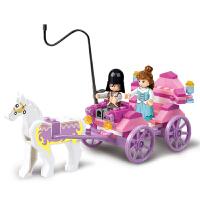拼装积木 女孩组装公主马车模型 拼装玩具积木车