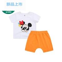 宝宝童装夏装迪斯尼衣服男女童短袖背心中裤套装儿童运动装