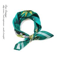 冰凉松山绿 时尚黎贝卡海军风罗盘素邹缎墨绿色 丝巾小方巾 松山绿