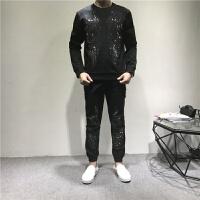 运动套装男士秋冬季时尚休闲烫钻刺绣天使翅膀潮流男式两件套 黑色