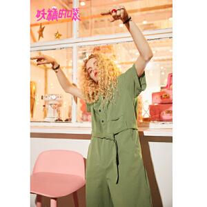 【低至1折起】妖精的口袋2018新款休闲宽松chic纯色工装气质短袖连体裤女
