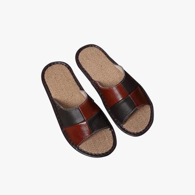 当当优品 真皮牛皮拖鞋 时尚方块拼色 防滑牛筋底 保护地板拖鞋 居家休闲T1673 男款棕咖(多色可选)