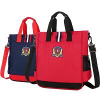 韩版儿童补习袋小学生手提包美术袋拎书包斜挎包男女帆布补课书包