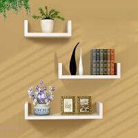 墙上置物架客厅墙壁挂墙面隔板搁卧室简约现代一字木U型板免打孔 白色U形搁板三件套 板厚度1.6cm