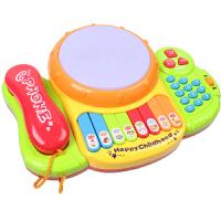 儿童电话机音乐拍拍鼓儿歌灯光音乐电子琴手拍鼓宝宝早教玩具