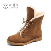 【清仓】青婉田冬季保暖羊皮毛一体雪地靴中筒真皮平底靴子女加绒冬靴