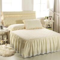 棉床裙单件 全棉加厚床笠防滑 席梦思床罩1.8米1.5 唯美 白夹棉 +枕套