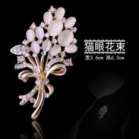 复古水晶猫眼珍珠胸针胸花韩国时尚男女西装外套开衫大衣别针配饰