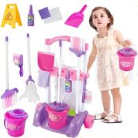 过家家厨房女孩玩具组合六一儿童扫把拖地套装迷你清洁手推车宝宝