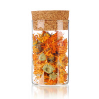 糖果储物罐300ML环保茶包装 软木塞玻璃密封罐 直筒 茶叶罐