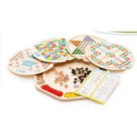 多功能十六合一木质制跳棋飞行棋五子棋亲子儿童玩具桌游