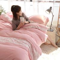 水洗棉纯色床上用品4件套夏季 蕾丝素色床单被套四件套 双人2米