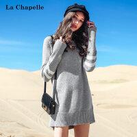 拉夏贝尔毛衣套头2018冬季新款韩版条纹百搭打底衫中长款针织衫女
