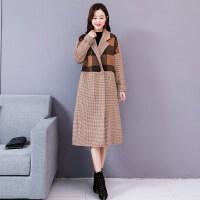 秋冬装格子大衣中长款韩版宽松呢子加厚格毛呢外套女