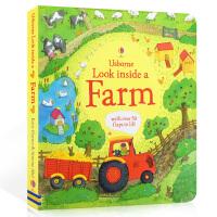 英文原版 Usborne Look inside a Farm 看里面系列 农场 儿童百科 纸板翻翻书 0-3-6岁幼