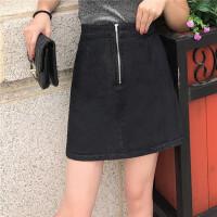 原宿风牛仔短裙女bf韩国ulzzang气质拉链设计秋季a型包臀裙性感潮