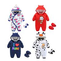 6-12个月婴儿连体衣秋冬保暖爬爬服一岁宝宝冬装女童薄棉加棉哈衣