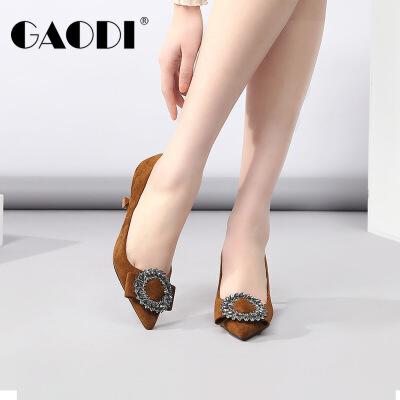 高蒂女鞋春季新款2018欧美风尖头女单鞋细高跟水钻绒面浅口鞋子女