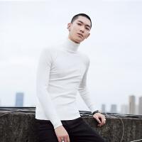 男装 冬 基础款纯色高领修身百搭毛衣 英伦时尚保暖打底衫