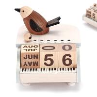 木质音乐盒八音盒女生儿童节生日创意礼物钢琴小鸟万年历 钢琴鸟万年历音乐盒