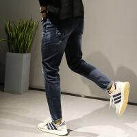 原创高品质简约牛仔裤男秋冬直筒修身深蓝裤子迷彩内里 牛仔蓝