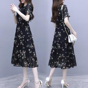 安妮纯2019夏装新款女装民族风韩版宽松收腰中长款短袖棉麻连衣裙女