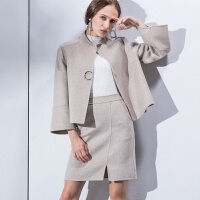 秋冬季新品双面呢外套+短裙两件套女装羊毛绒大衣短款套装 浅灰色