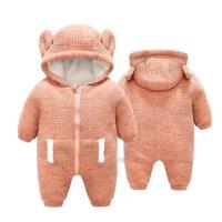婴儿棉衣服秋冬装男女0-3-6个月宝宝抱加绒加厚保暖新生儿连体衣
