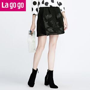 Lagogo/拉谷谷春秋季新款黑色网纱绣花高腰百搭短裙女裙子半身裙