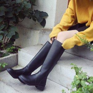 长筒靴子女秋冬2018新款粗跟骑士靴后拉链显瘦直筒靴黑色高筒皮靴3336MM