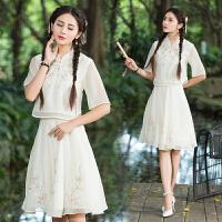 中国风女装套装春装夏季新款时尚民族风绣花上衣半身裙套装女