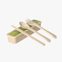 当当优品 壳氏唯稻壳环保户外学生儿童旅行创意便携餐具套装三件套筷叉勺