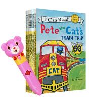 天才博士点读版套装英文亲子早教幼少儿童启蒙绘本英语故事书皮特猫I Can Read Pete the Cat 10册(不含笔)