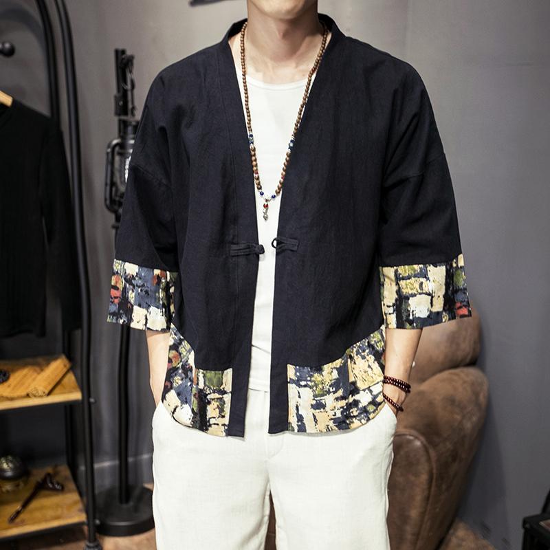 中国风男装汉服男唐装改良青年七分袖男士薄款外套秋季潮流上衣服 发货周期:一般在付款后2-90天左右发货,具体发货时间请以与客服协商的时间为准