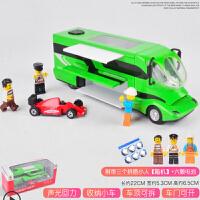 仿真旅行房车合金车模 儿童玩具声光回力小汽车模型男孩礼物 +随机3人