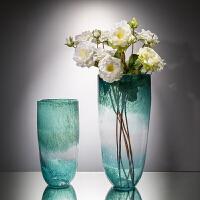 居家装饰摆件花瓶玻璃透明彩色清新插花瓶干花瓶