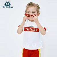 迷你巴拉巴拉男童短袖套装2019夏新品宽松薄款童装新品撞色套装潮