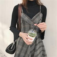 半高领毛衣女学生韩版套头修身显瘦纯色喇叭袖坑条纹打底针织衫潮