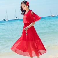 维绯红色沙滩裙子新款波西米亚雪纺荷叶边连衣裙旅游度假长裙子 红色