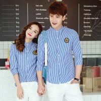 夏季情侣装奶茶店咖啡厅服务员工作服男女生海军风细条纹短袖衬衫