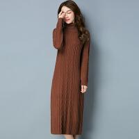 高领套头毛衣女宽松秋冬加厚羊绒内搭打底衫加长款针织连衣裙长裙