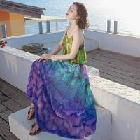 夏季新品女装泰国风吊带雪纺连衣裙子长裙波西米亚海边度假沙滩裙 图片色