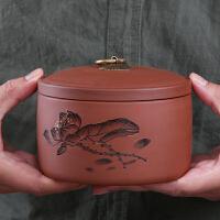 紫砂茶�~罐大�陶瓷茶罐普洱茶�~包�b盒密封罐醒茶罐