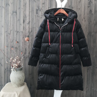 G6冬季羽绒棉衣女中长过膝韩版宽松chic黑色金丝绒袄外套