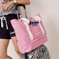 短途帆布旅行包 女式大容量单肩包时尚可折叠手提旅行包妈咪收纳 24寸